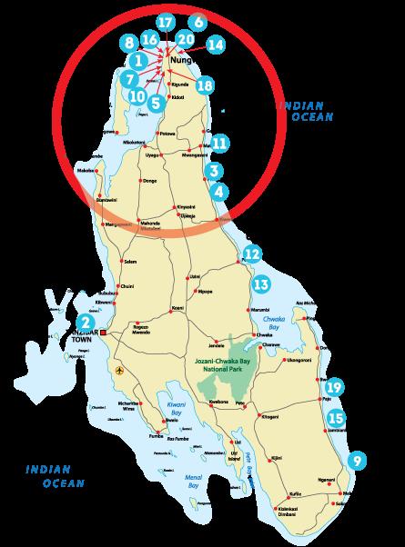 Остров Занзибар, Танзания, районы Нунгви, Кендва
