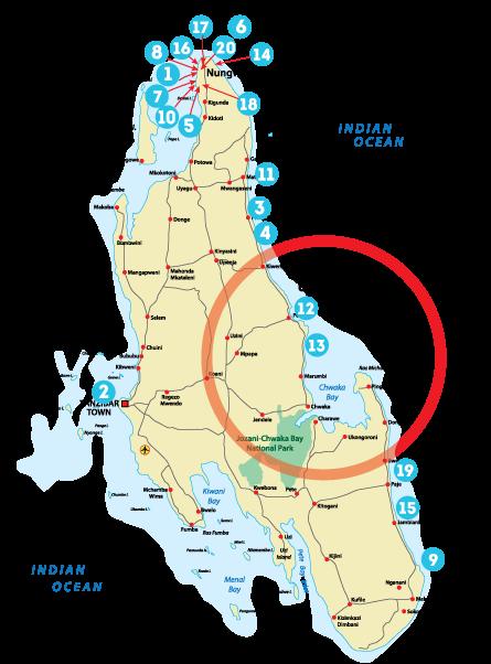 Остров Занзибар, Танзания, районы Матемве, Пвани, Мчангани, Кивенгва, Понгве, Уроа