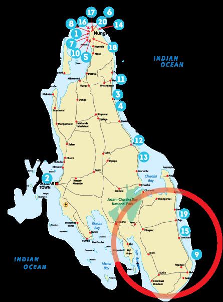 Остров Занзибар, Танзания, районы Паже, Жамбяни, Кизимкази, Донгве, Пингве