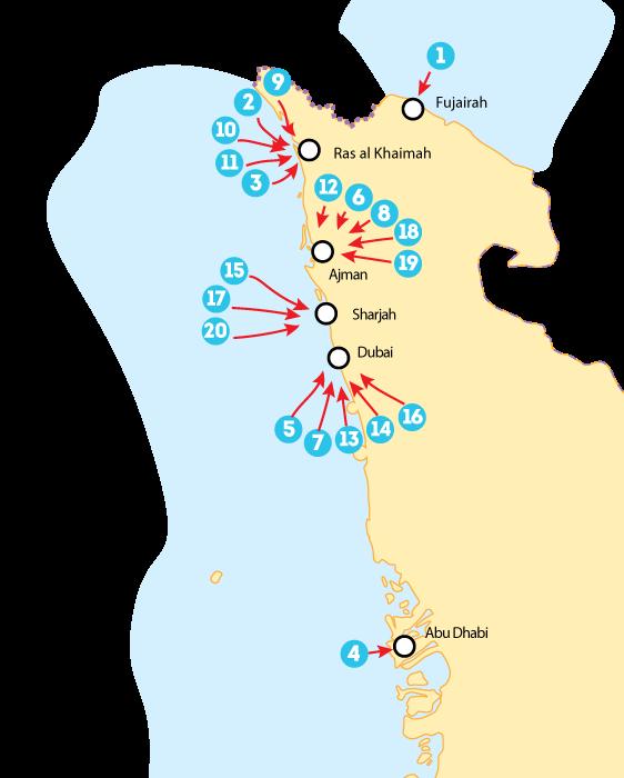 Отели в ОАЭ, карта курортов и отелей