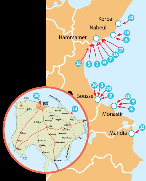 Курорты Туниса - карта, описание отелей. Все отели Туниса.