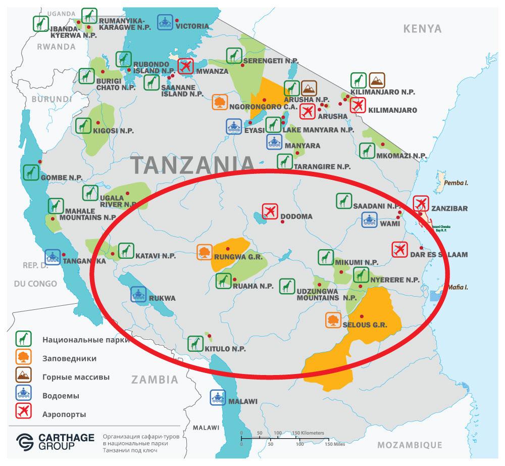 Карта парков для сафари-тура в Южной части Танзании