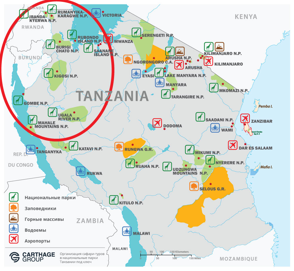 Карта национальных парков Танзании